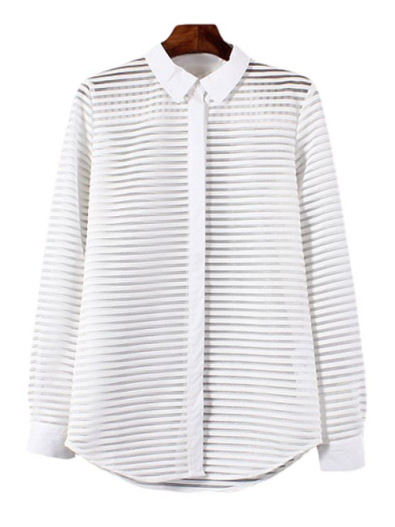 buy Polo Collar See-Through Stripe Long Sleeve Shirt - WHITE S
