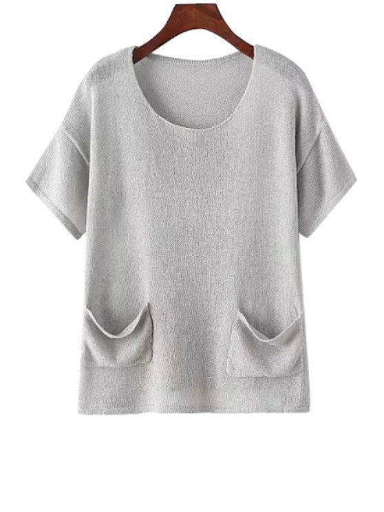 affordable Solid Color Pocket Design Knitted Sweater - GRAY ONE SIZE(FIT SIZE XS TO M)