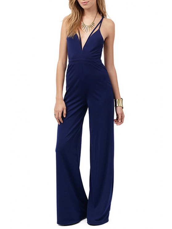 outfits Spaghetti Strap Backless Cross Sleeveless Jumpsuit - PURPLISH BLUE S