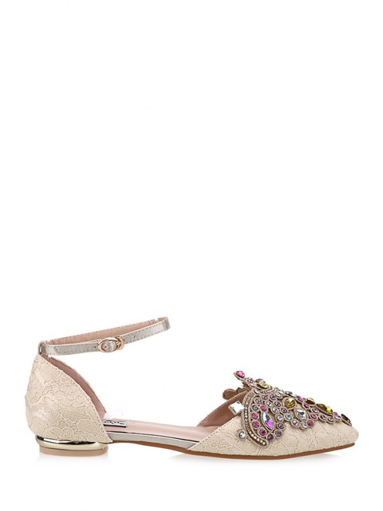 chic Ankle Strap Rhinestones Pointed Toe Flat Shoes - OFF-WHITE 39
