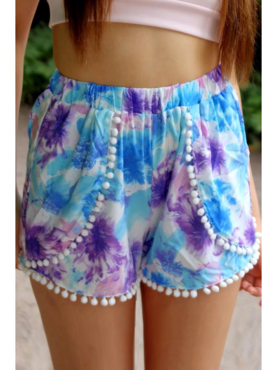 sale Floral Print Elastic Waisted Shorts - COLORMIX XL