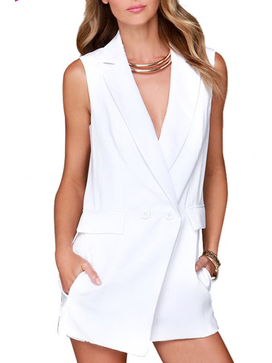 sale Lapel Solid Color Sleeveless Romper - WHITE S