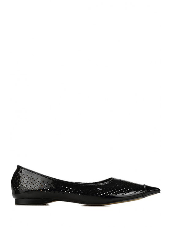 outfit Patent Leather Hollow Out Flat Shoes - BLACK 35