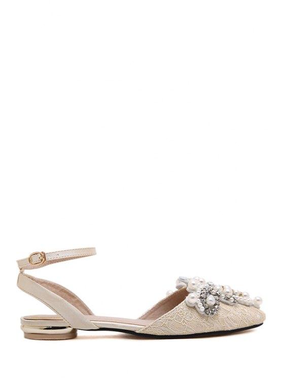 fashion Rhinestones Beading Pointed Toe Sandals - OFF-WHITE 35