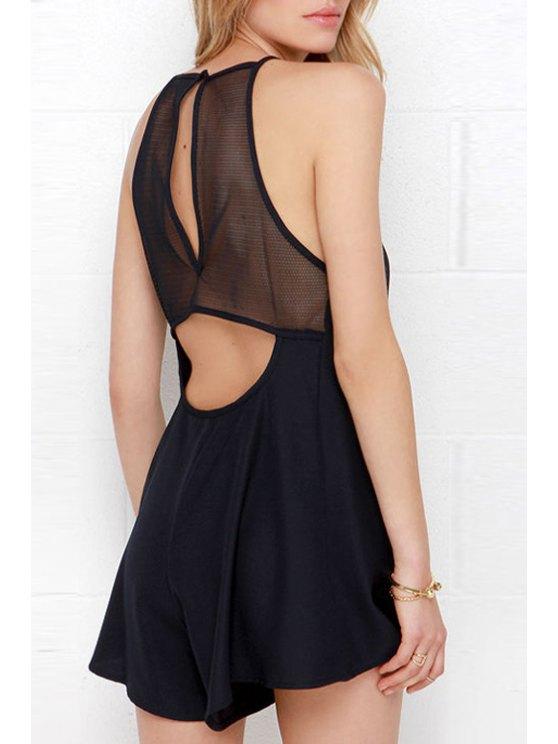 fashion Spaghetti Strap Backless See-Through Sleeveless Romper - BLACK S