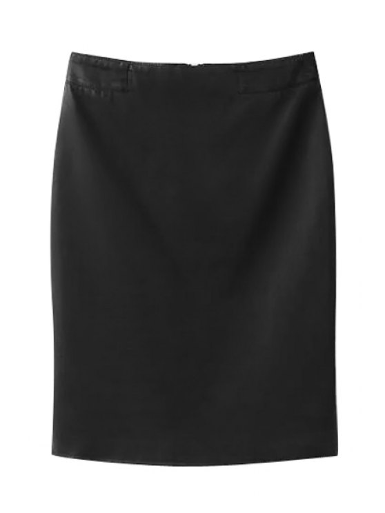 unique High-Waisted Zipper-Fly PU Leather Black Skirt - BLACK S