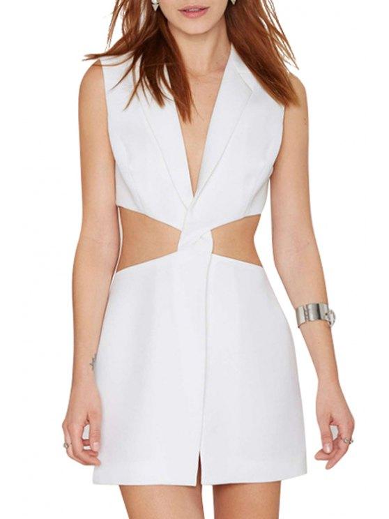 buy Deep V Neck Cross Waist Hollow Out Dress - WHITE S