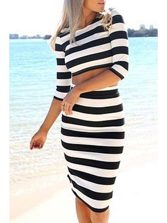 ladies Striped Half Sleeve Crop Top and Bodycon Skirt Suit - STRIPE S