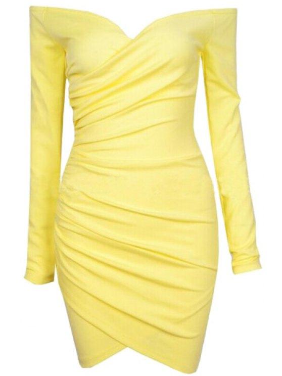 women's Slash Neck Solid Color Bodycon Dress - YELLOW S