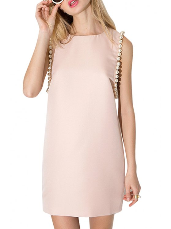 womens Jewel Neck Faux Pearl Embellished Sleeveless Dress - PINK S