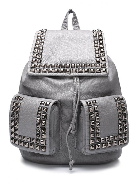 best PU Leather Solid Color Rivets Satchel - GRAY