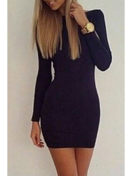 shop Black Open Back Long Sleeve Dress - BLACK S