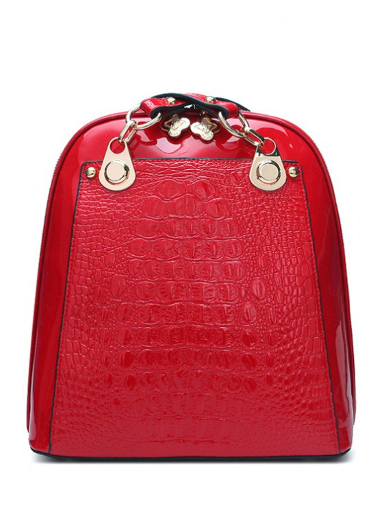 lady Crocodile Print Patent Leather Zipper Shoulder Bag - RED
