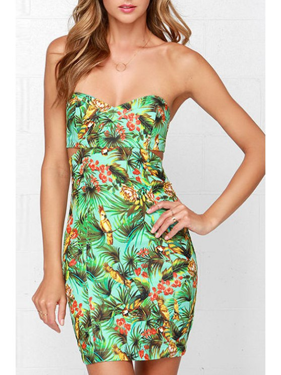 outfits Strapless Floral Parrot Print Sleeveless Dress - GREEN S
