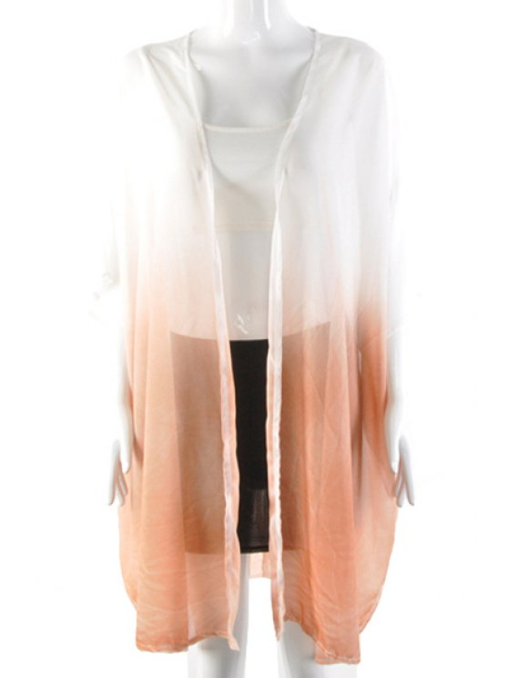 latest Collarless See-Through Ombre Color Blouse - ORANGE M