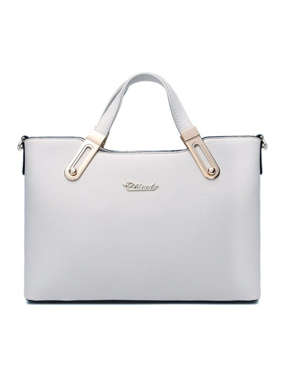 online Metal Solid Color PU Leather Tote Bag - GRAY
