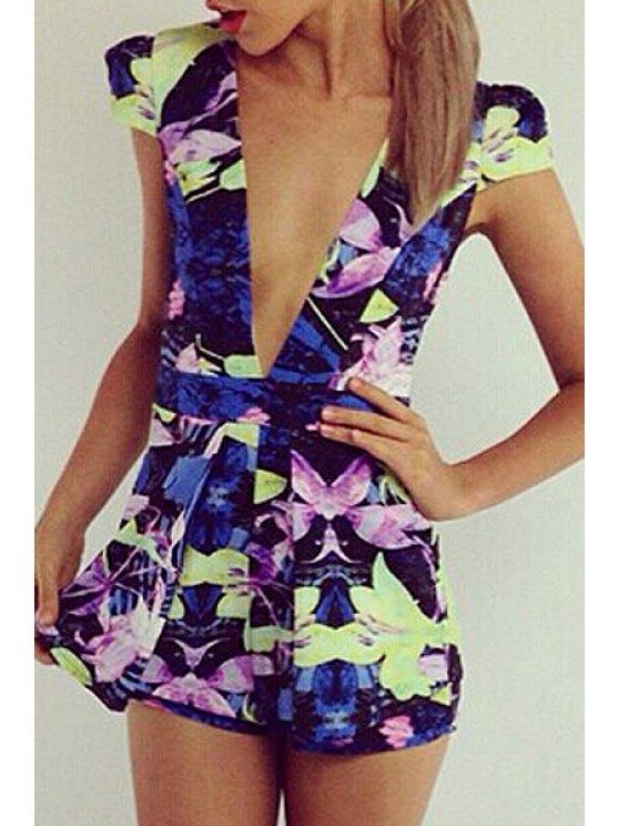 ladies Floral Print Plunging Neck Playsuit - COLORMIX S