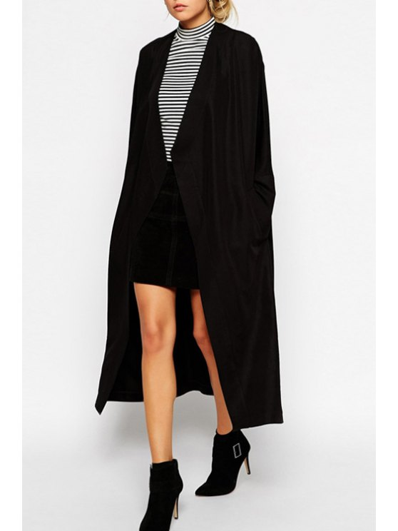sale Collarless Solid Color Long Sleeve Trench Coat - BLACK 2XL