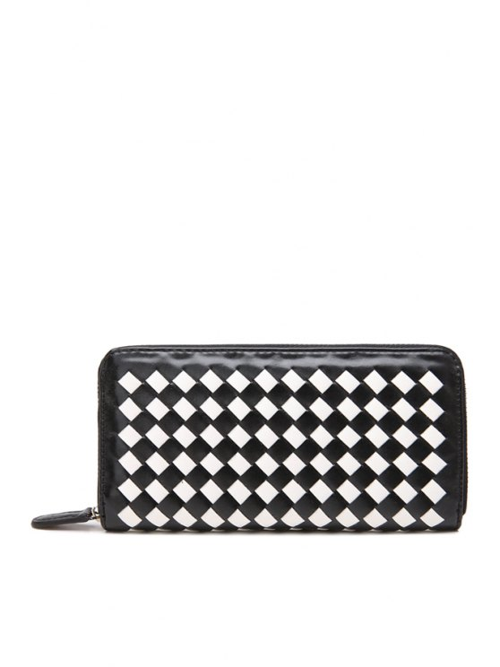 women PU Leather Weaving Zip-Around Wallet - WHITE AND BLACK