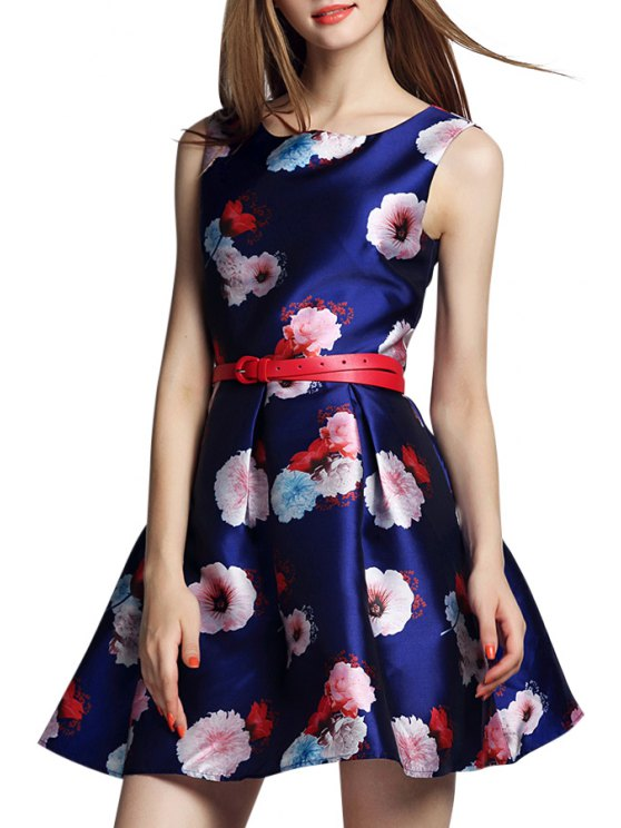 women's Floral Print Ruffled A-Lined Dress With Belt - PURPLISH BLUE S