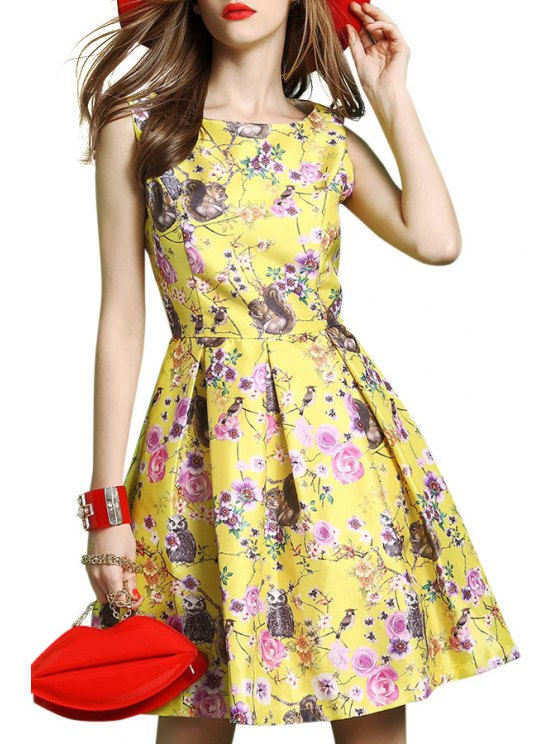 latest Squirrel and Flower Print Flare Dress - YELLOW S