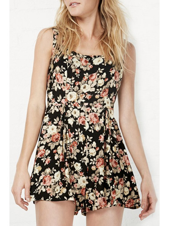 fashion Tiny Floral Sleeveless Backless Playsuit - BLACK L