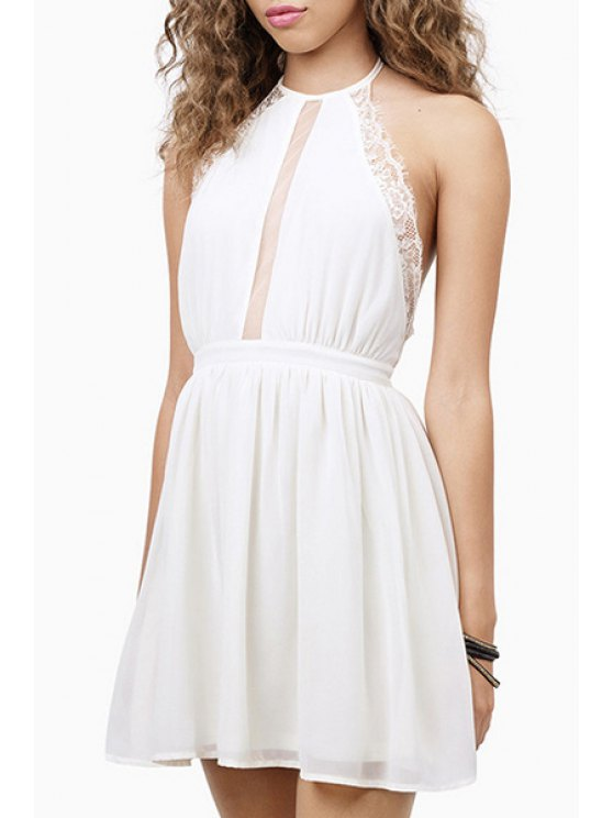 outfits Voile Splicing See-Through Backless Sleeveless Dress - WHITE S