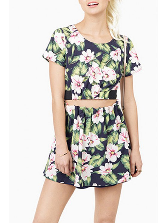 fancy Floral Leaves Print Back Hollow Out Crop Top - BLUE S