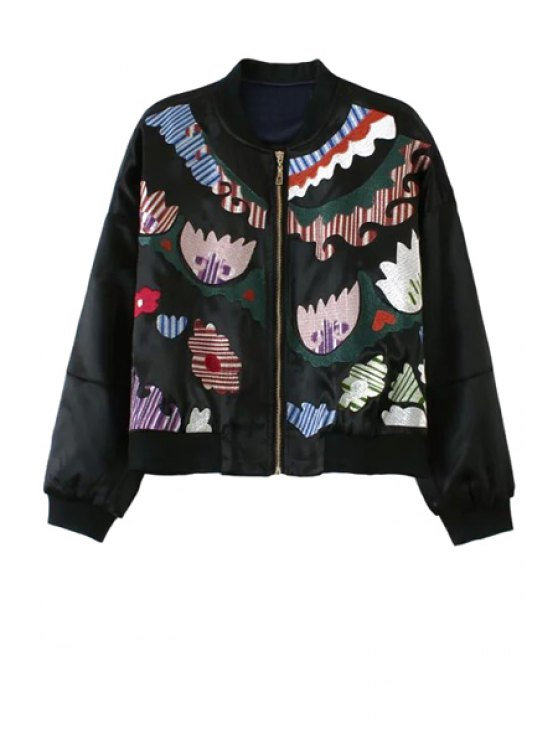 shop Long Sleeve Embroidered Zippered Jacket - BLACK S