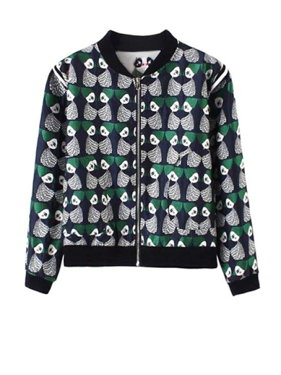 sale Stand Collar Cartoon Pattern Jacquard Jacket - BLUE S