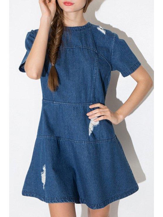 online Destroy Wash Back Zipper Short Sleeve Dress - BLUE S