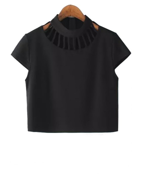 best Hollow Out Zippered Black Crop Top - BLACK S