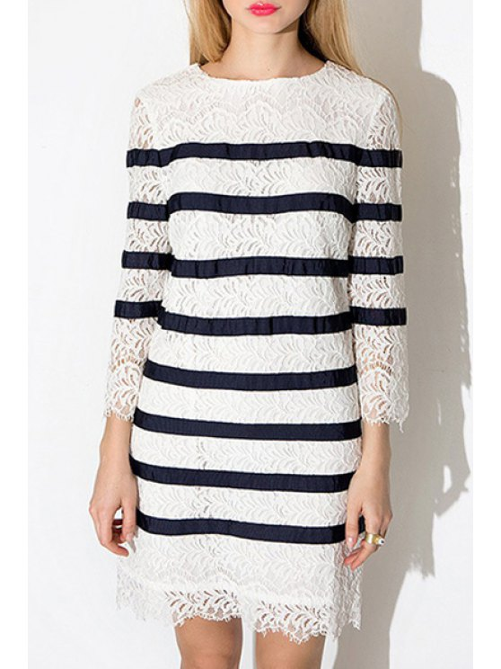 fashion Stripe See-Through 3/4 Sleeve Dress - STRIPE L