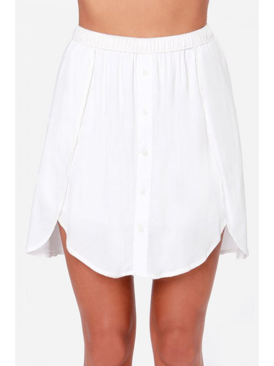 outfit Solid Color Asymmetrical Skirt - WHITE M