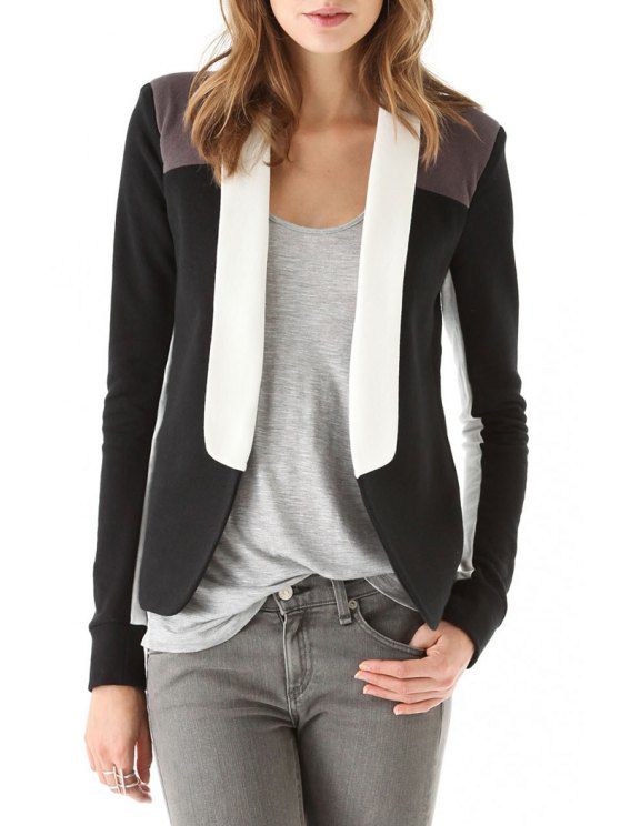 best Shawl Collar Color Block Splicing Long Sleeve Blazer - BLACK S