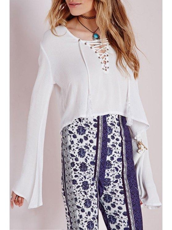 best White V Neck Long Sleeve Crop Top - WHITE S