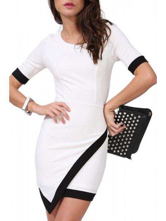 womens Asymmerical Color Block Short Sleeve Dress - WHITE S