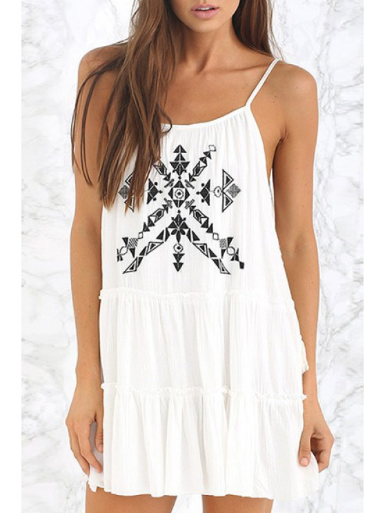 ladies Geometric Embroidery Spaghetti Strap Dress - WHITE S