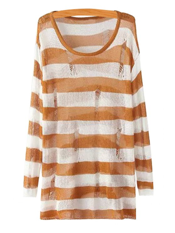 women Scoop Neck Striped Broken Hole Sweater - KHAKI ONE SIZE(FIT SIZE XS TO M)