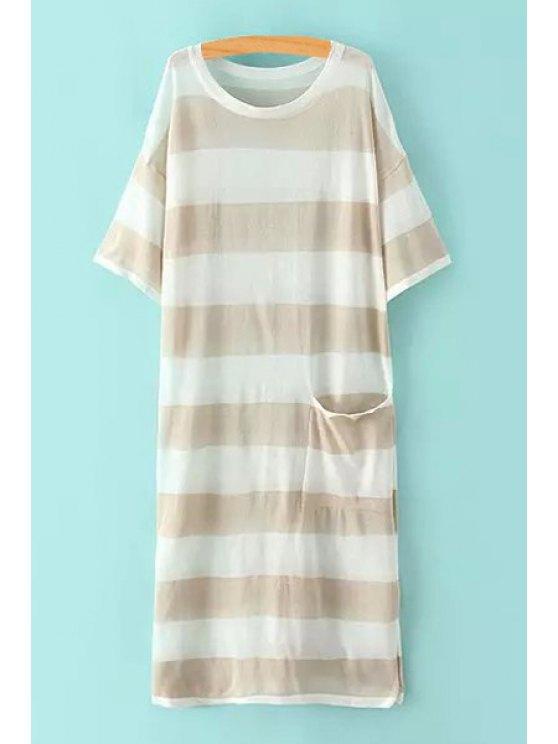 trendy Striped Pocket Design Side Slit Sweater Dress - KHAKI ONE SIZE(FIT SIZE XS TO M)