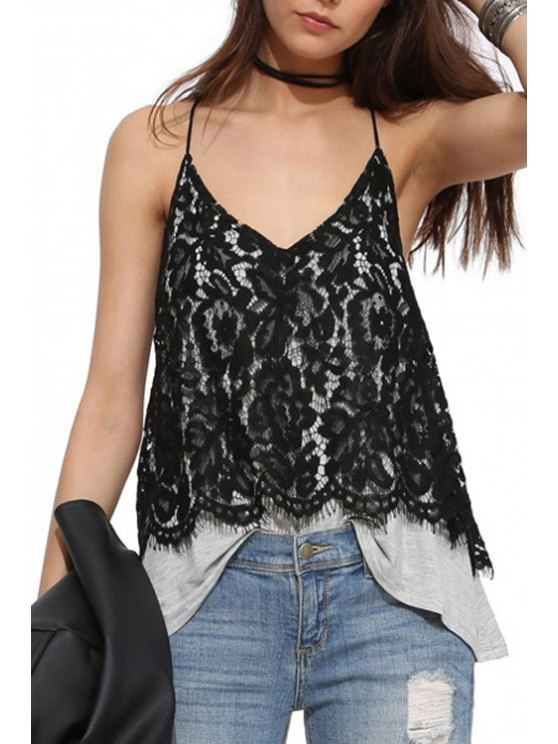 chic Multi-Layered Black Lace Splicing Tank Top - BLACK S