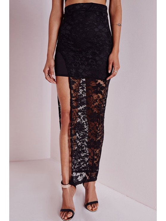 fashion Lace High Slit High Waisted Skirt - BLACK S