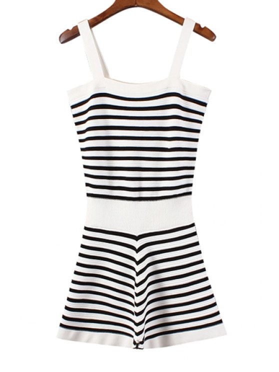 latest Square Neck Striped Knittted Romper - WHITE AND BLACK ONE SIZE(FIT SIZE XS TO M)