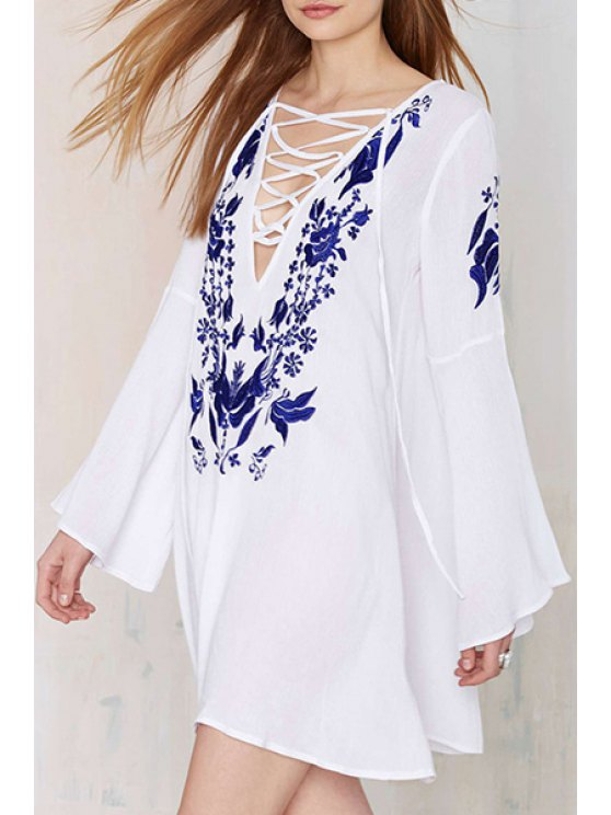 outfits Plunging Neck Floral Embroidery Dress - WHITE S