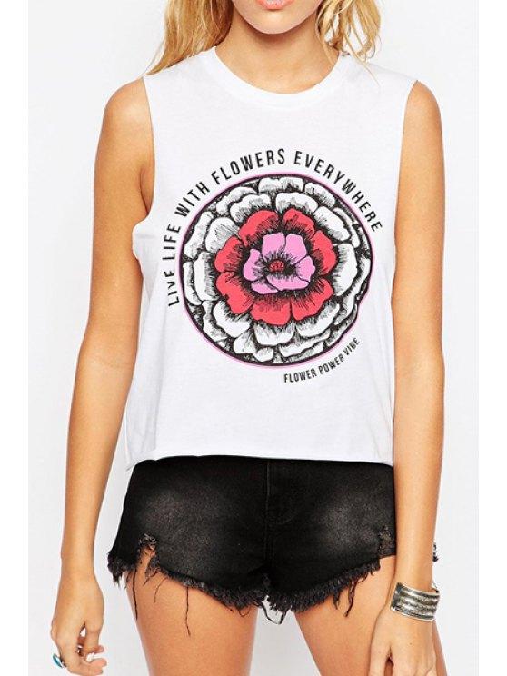 hot Flower Print Round Neck Tank Top - WHITE S