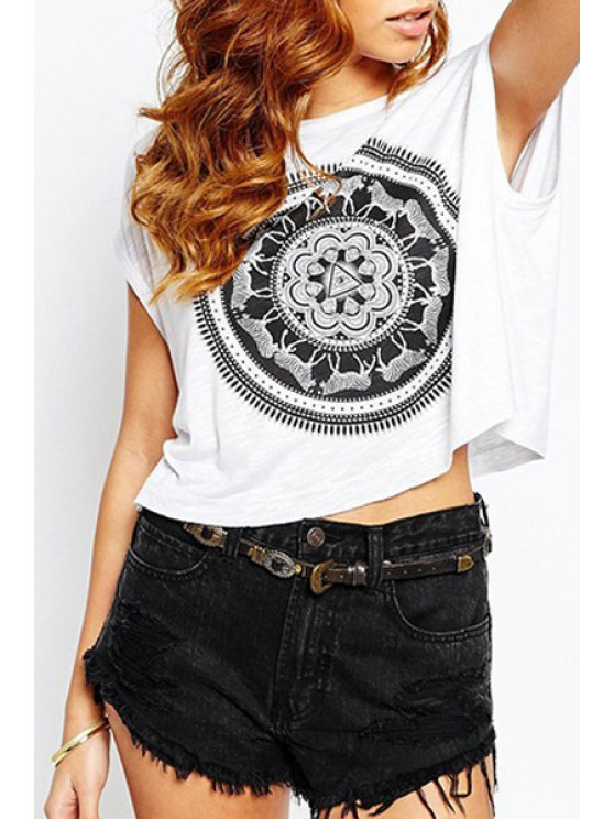 affordable Animal Print Scoop Neck T-Shirt - WHITE S
