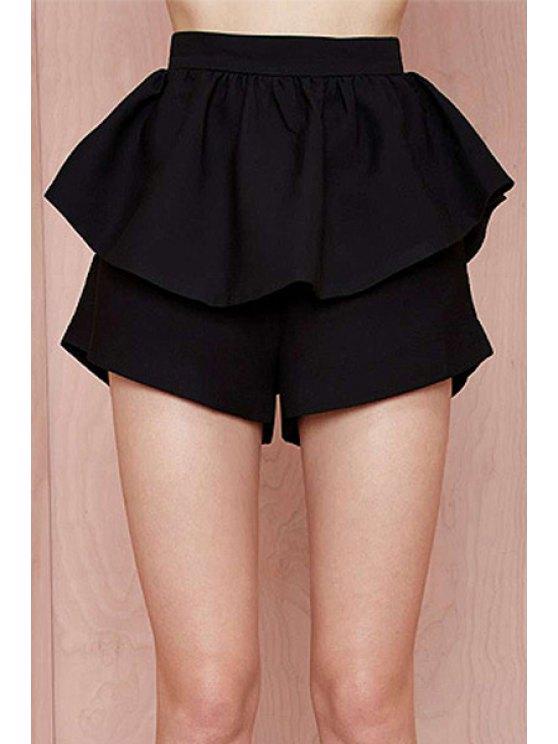 new High-Waisted Ruffles Loose-Fitting Black Shorts - BLACK XS