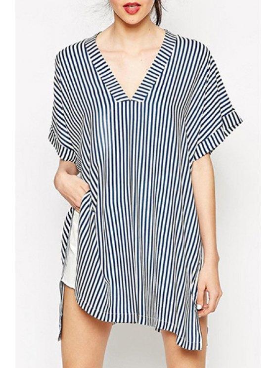 ladies Stripes V Neck Loose-Fitting T-Shirt - STRIPE S