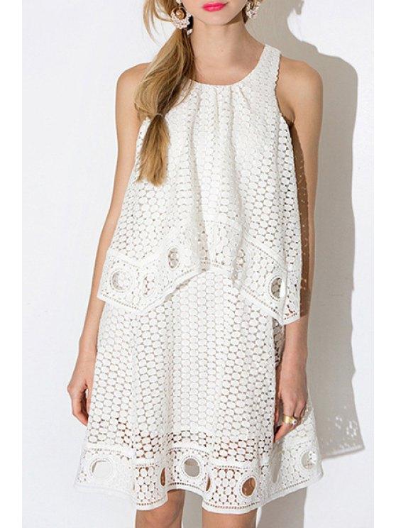 buy White Hollow Sleeveless Out Dress - WHITE S