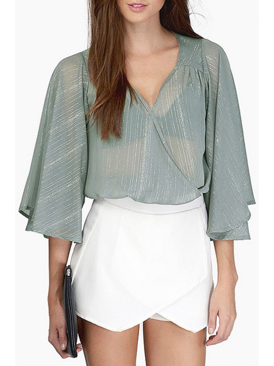 chic Plunging Neck Solid Color See-Through Crop Top - GRAY XS